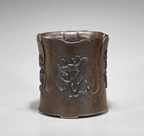Well Carved Chinese Hardwood Brushpot