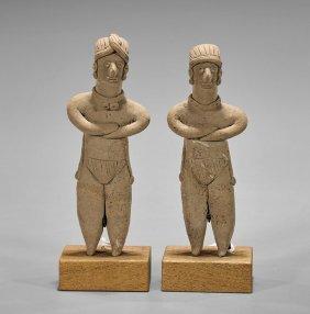 Pair Pre-columbian Pottery Figures