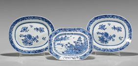 Three Antique Chinese Export Blue & White Porcelain