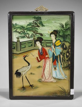 Two Chinese Reverse Glass Paintings: Beauties