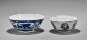 Two Chinese Blue & White Porcelain Bowls