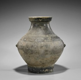 Large Han Dynasty Grey Pottery Jar