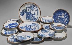 Sixteen Japanese Blue & White Porcelain Plates