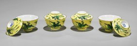 Four Antique Chinese Covered Rice Bowls