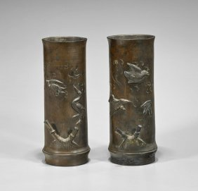Pair Antique Japanese Bronze Bamboo Vases