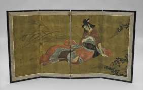 Antique Japanese 4-panel Paper Screen