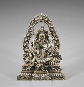 Sino-tibetan Silvered Bronze Tantric Group