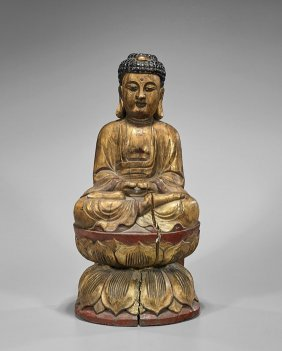 Heavy Chinese Carved Wood Buddha