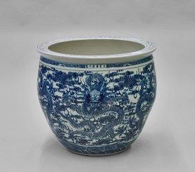 Large Kangxi-style Blue & White Jardinière
