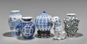Five Large Asian Blue & White Porcelains