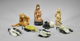 Eight Chinese Items: Figures & Fruit