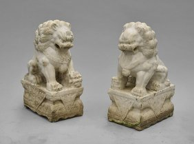 Pair Chinese Carved Marble Fo Lions