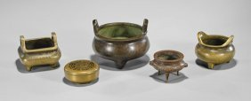 Five Chinese Bronzes: Censers & Hand Warmer