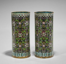 Pair Old Chinese Cloisonné Hat Stands
