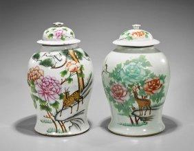 Pair Large Enameled Porcelain Covered Jars