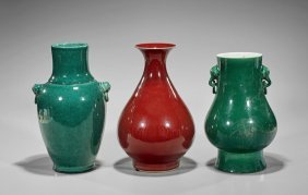 Three Chinese Monochrome Glazed Vases