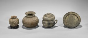 Four Chinese & Korean Unglazed Items