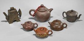 Six Chinese Yixing Pottery Teapots