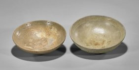 Two Antique Korean Celadon Glazed Bowls