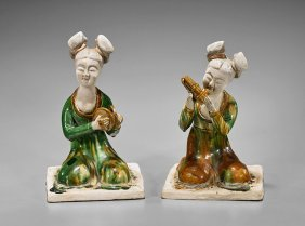 Pair Tang-style Sancai Glazed Musicians
