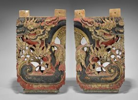 Two Chinese Polychrome Wood Plaques