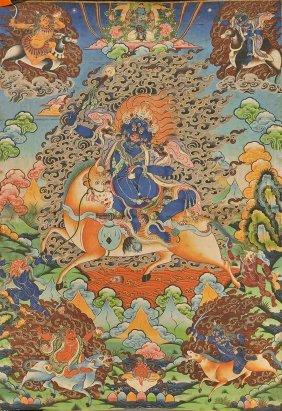 Two Thangkas: Mandala & Mahakala
