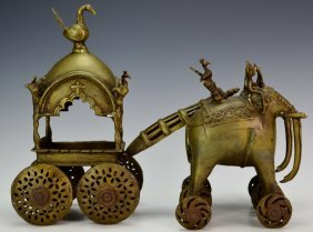 Bronze Elephants And Carriage Sculpture