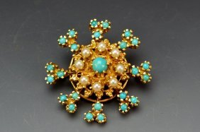 14k Yg Turquoise And Pearl Brooch