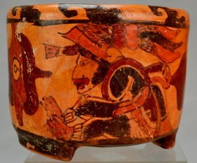 Mayan Polychrome Cylinder Vase