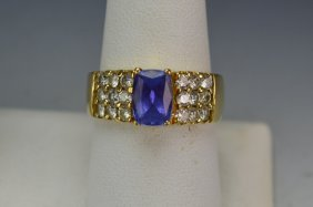 14k Yg Tanzanite And Diamond Ring