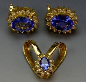 14k Yg Tanzanite And Diamond Set
