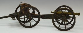 19th C. Brass Cannon With Carriage