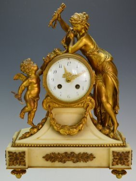 French Empire Gilt Bronze And Marble Mantel Clock
