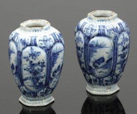 Paar Sechseckige Vasen 't Fortuyn, Delft 2. H