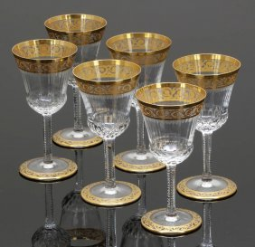 6 Süßweingläser 'thistle Gold' Verreries & Cr