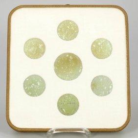 7 Jade-medaillons China, 19. Jahrhundert. Jad