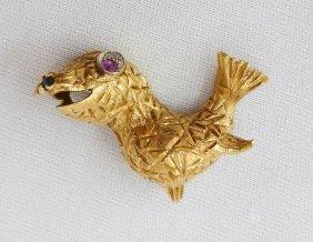 18k Sea Lion Figural Brooch With Ruby & Diamond Eye