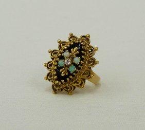 14k Filigree Opal & Diamond Women's Ring - 7 Grams