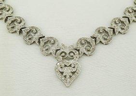 18k White Gold Diamond Pierced Heart Shaped Necklac