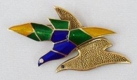 14k Modernist Doves In Flight Brooch With Blue, Gre