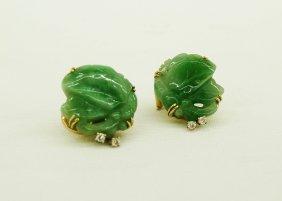 Pair Of Chinese 14k Jadeite Jade Pierced Carved Lea
