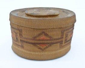 Antique Tlingit Rattle Top Indian Basket 3.75''x6.25''.