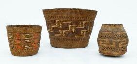 3pc Old Haida & Tlingit Indian Baskets. Spruce Root