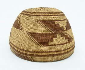 Old Hupa Indian Basketry Hat 4.25''x7''. Colorful