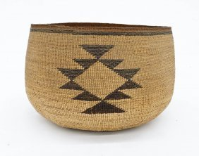 Old Hupa Large Indian Basket 5.5''x8.5''. California