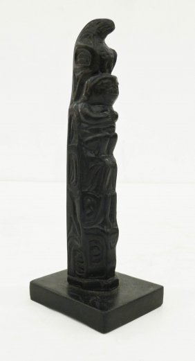 Old Northwest Coast Carved Stone Totem Pole Model