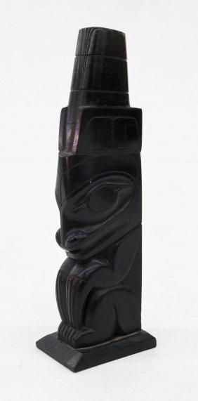 Pat Dixon (b.1938 Haida) Sea Bear Argillite Totem Pole