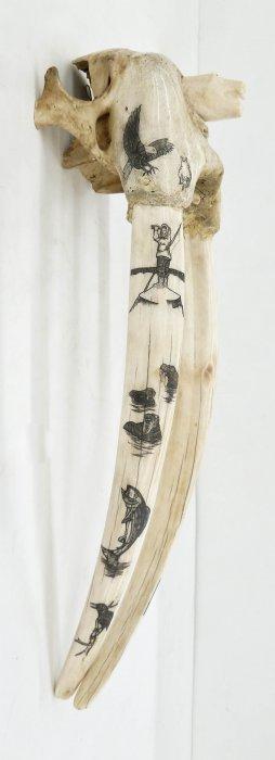Joe Blatchford (1940-2009 Alaskan) Scrimshawed Ivory