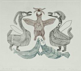 Pitseolak Ashoona (1904-1983 Inuit) ''the Red Bird''