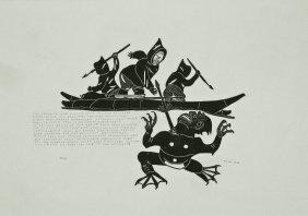 Tivi Etok (b.1929 Inuit) Kayak With Sea Monster 1974